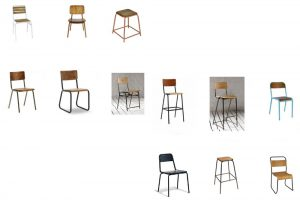 Old school chairs and stools