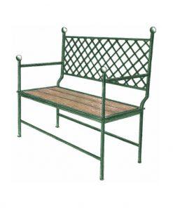 Ferro bench grid wooden two seat sofa