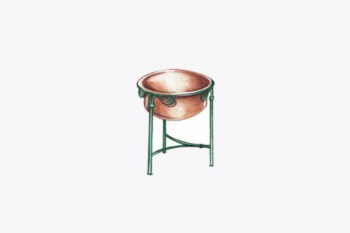 Copper bath tub low stool